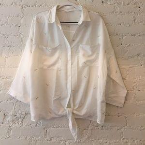 Tie-waist button down white shirt with embroidery